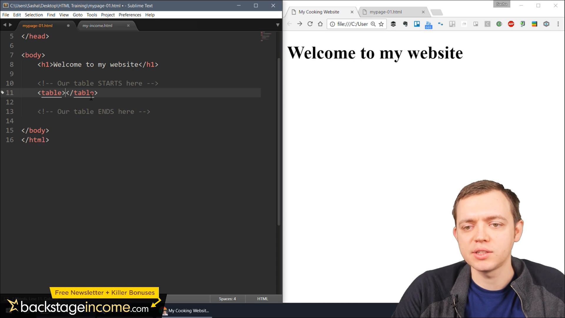 how to create rows and columns in html